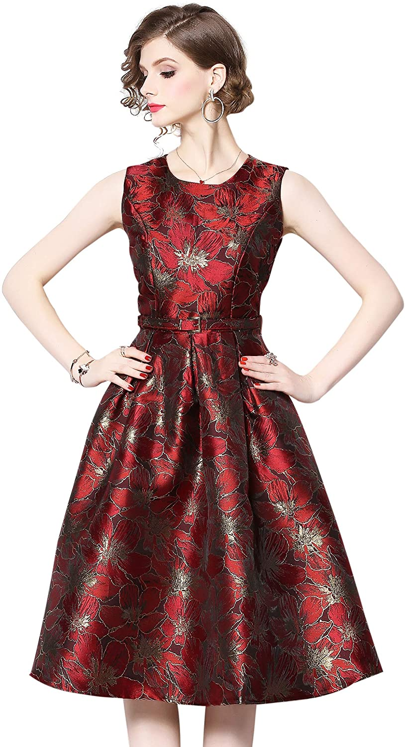Women's Chic Elegant Sleeveless Round Neck Floral Jacquard Flared Cocktail Party Vintage Dress