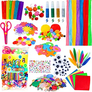 Acerich Arts and Crafts for Kids, Craft Supplies Pipe Cleaners Pom Poms Wiggle Googly Eyes, Buttons, Ice Cream Sticks and ...