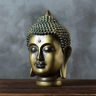 MyGift 6-Inch Gold-Tone Resin Meditating Buddha Head Statuette