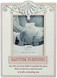 Abbey Gift Pink Baptism Blessings Frame, 6 x 8 x 1, Multi