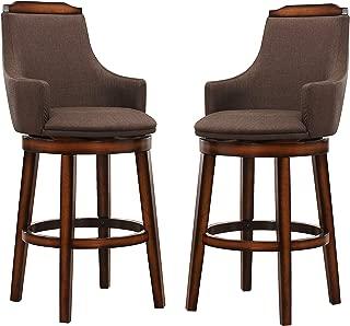Homelegance Bayshore Swivel Pub Height Chairs (Set of 2), Chocolate