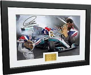 Marco autografiado de Lewis Hamilton A4 de 12 x 8 – 4 veces Campeón del Mundo Edición Celebración – Mercedes-AMG Petronas – Fotografía autografiada Marco de fotos Motor Sport F1 regalo