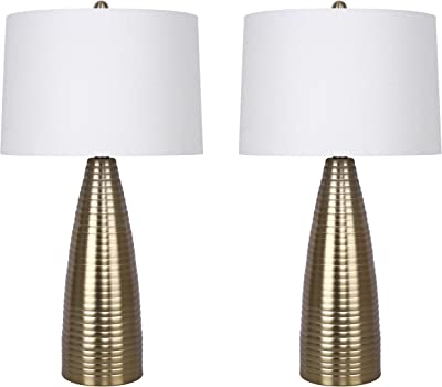 Grandview Gallery 27 75 Plated Gold Metal Table Lamp Set Featuring Ribbed Body Design And Off White Linen Tapered Drum Shades Contemporary Lighting For Any Room Set Of 2 Amazon Com
