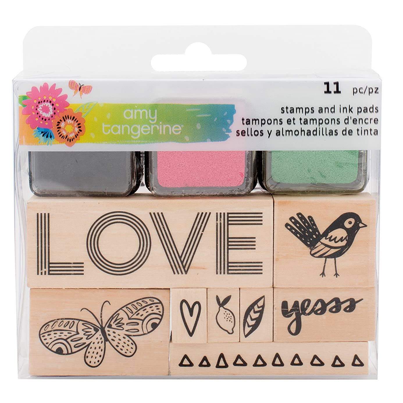 Amy Tan 11 Piece Wooden Stamps w/Ink Pads Sunshine & Good Times Embellishment ldq8618932