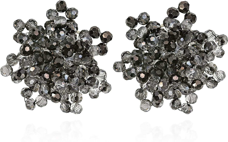 Glitzy Smoky Fashion Crystal Bead Cluster Clip On Earrings