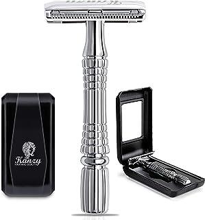 KANZY maquinilla de afeitar de doble filo - Afeitado manual – Safety Razor - Adecuado para todos navaja de afeitar - Caja con espejo interior (Silver)