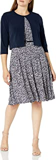Jessica Howard womens 3/4 Sleeve Fit and Flare Jacket Dress Casual Dress