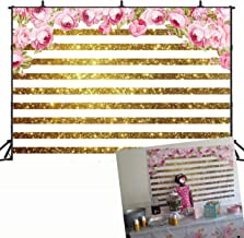 7x5ft Golden White Stripe Watercolor Flowers Backdrop Party Cake Table Photography Background Wedding Reception Sweet Anniversary Kids Adult Happy Birthday Carnival Baby Photo GYA-dn191-7x5FT