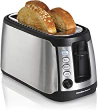 Hamilton Beach 4-Slice Extra-Wide Long Slot Stainless Steel Toaster with Keep Warm, Defrost and Bagel Functions, Shade Selector, Toast Boost, Auto-Shutoff and Cancel Button, Black (24810)