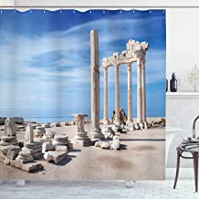 Ambesonne Architecture Shower Curtain, Photography of Old Greek Building with Blue Sky Place and Ruins Image, Cloth Fabric Bathroom Decor Set with Hooks, 75 Long, Beige Blue