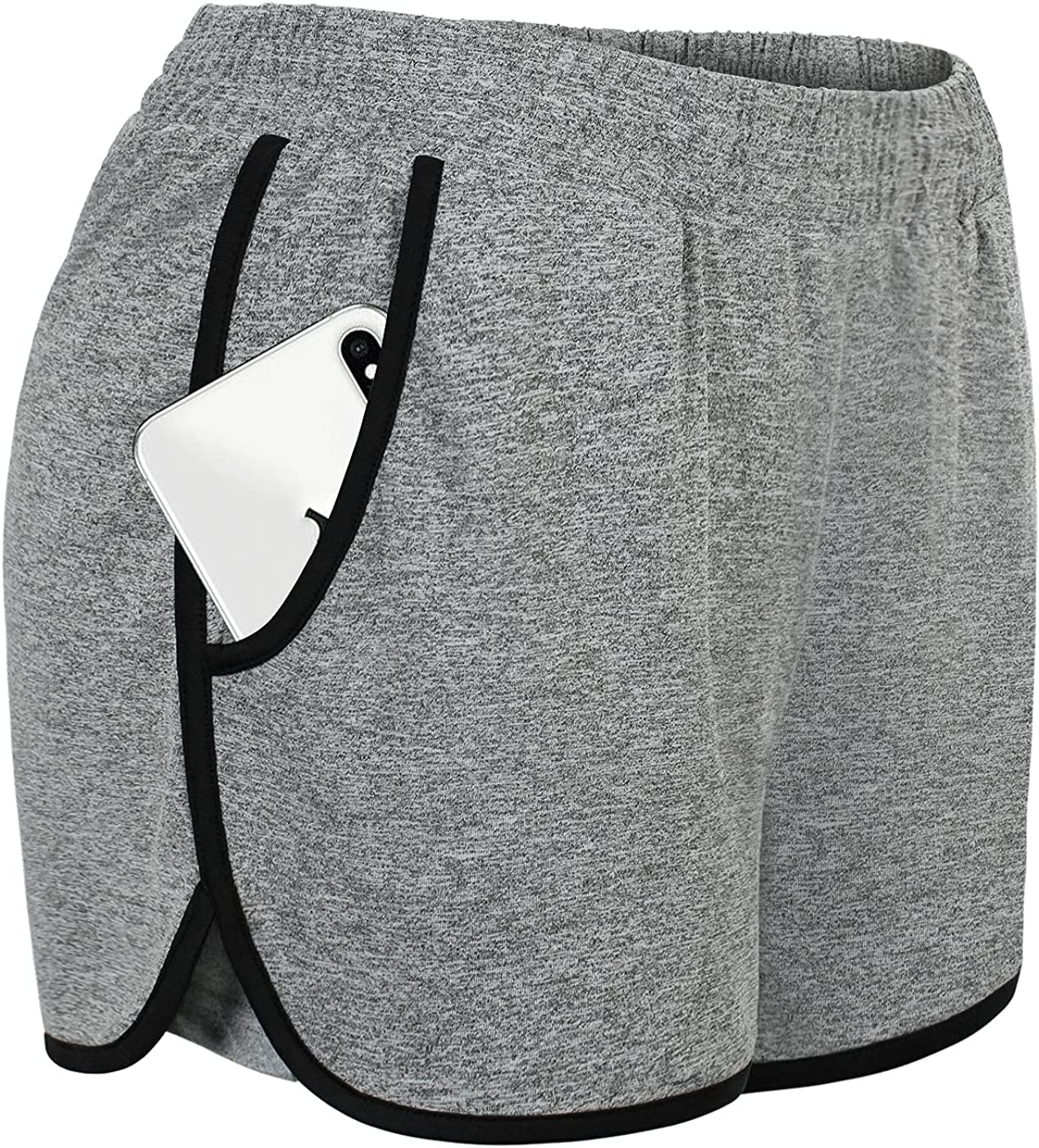 Ouncuty Womens Cozy Elastic Waist Sports Running Gym Workout Shorts with Pockets at  Women's Clothing store
