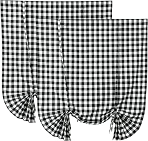 2 Pack Buffalo Check Plaid Tie Up Shades Farmhouse Style Gingham Rod Pocket Window Curtain for Kitchen 42x63 Inches White and Black (White and Black)