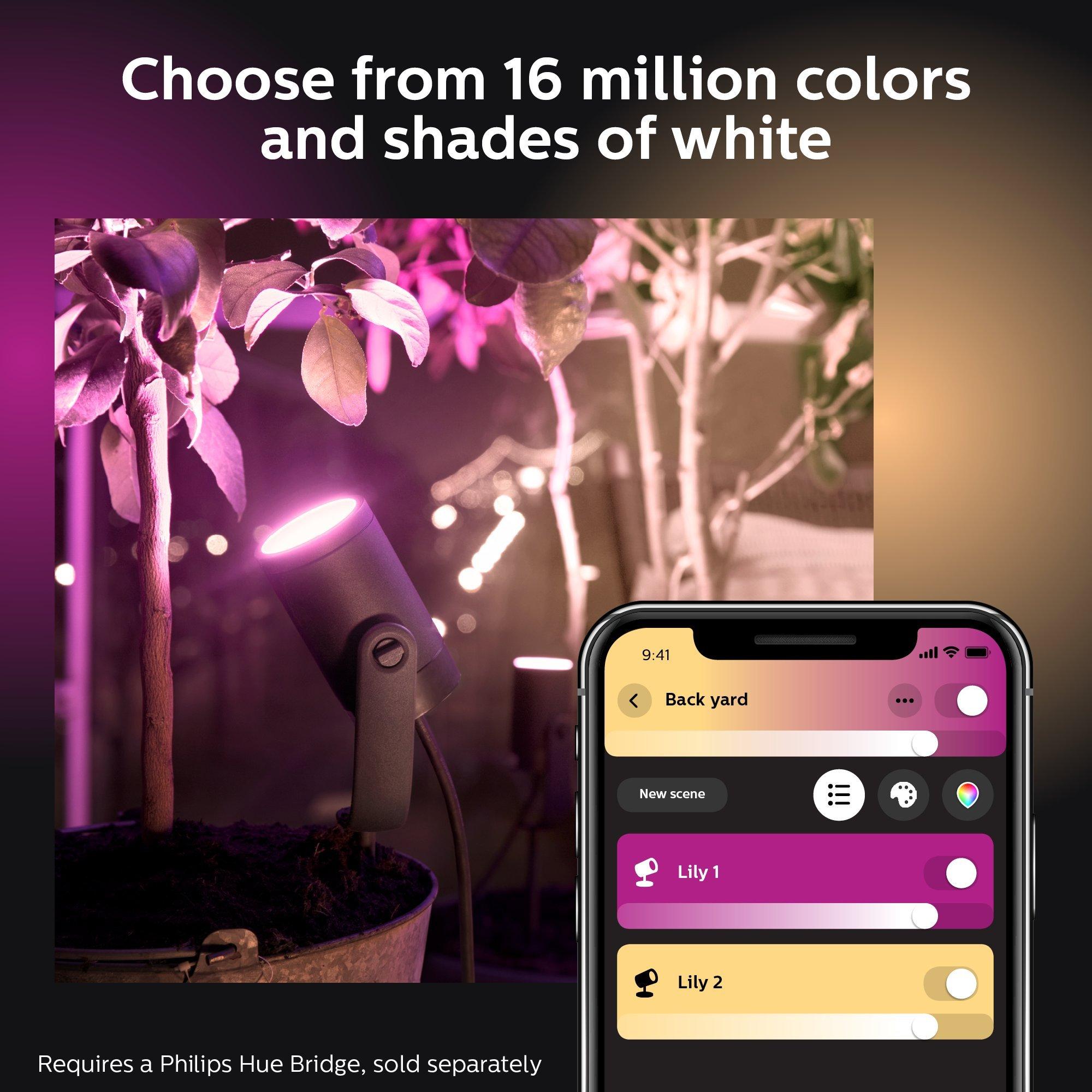 Philips Hue Colour Lily Base LED Light Integrated 8 W Anthracite Starter kit