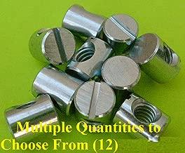 25 x Cross Dowels/Barrel Nuts 1/4-20 12mm x 10mm Center Hole Zinc Sloted Steel CNC