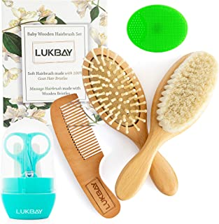 Toddler Hair Brush Comb Set-Complete Kit Baby Products Wooden Soft Bristle Brush Wooden Comb Baby Cradle Cap Silicone Brus...