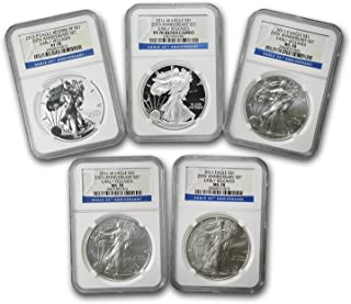 2011 5-Coin Silver Eagle Set MS/PF-70 NGC (ER, 25th Anniv) MS-70