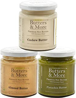 Butters & More Classic, Vegan & Unsweetened Nut Butters Bundle. Almond Butter, Cashew Butter & Pistachio Butter. 200G Each...