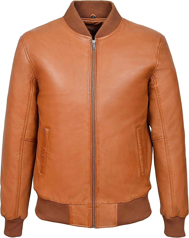 Smart Range 70's Classic Bomber Men's Tan Plain Napa Wax Biker Style Italian Fitted Real Leather Jacket 275P