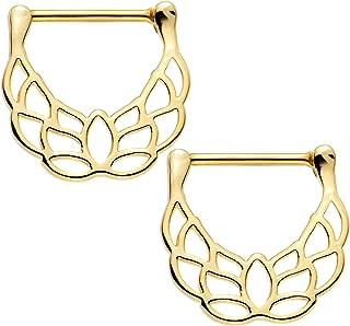 Gold Plated Steel Lovely Lotus Flower Nipple Clicker Set of 2 14 Gauge 9/16
