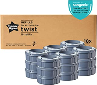 Tommee Tippee Twist and Click Advanced Nappy Disposal Sangenic Tec Refills, Pack of 18