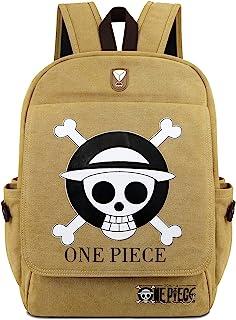 Roffatide Anime One Piece Backpack Khaki Canvas Book Bag Printed Flap School Bag With Earphone Hole