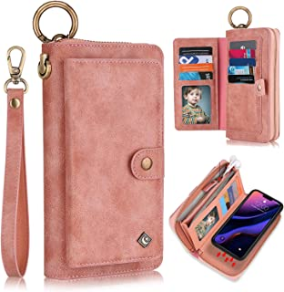 XRPow Wallet Case iPhone 11 Pro Max 6.5Inch [2 in 1] Magnetic Detachable Wallet Case [Vegan Leather] Zipper Clutch Folio F...