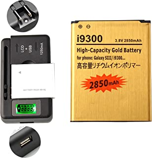 Gold Extended Samsung Galaxy S3 High Capacity Battery EB-L1G6LLA EB-L1G6LLU EB-L1G6LLZ + Universal Battery Charger With LED Indicator For Samsung Galaxy S3 SGH-I747 / Samsung Galaxy S3 SPH-L710 / Samsung Galaxy S3 SGH-T999 / Samsung Galaxy S3 SCH-R530 / Samsung Galaxy S3 SCH-I535 / Samsung Galaxy S3 GT-I9300 2850 mAh