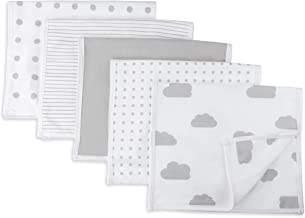 "Baby Burp Cloth,Waterproof Reversible Jersey Cotton Large Burp Cloths, Cloth Diapers 20"" x 12"" 5 Pack Grey Combo for Baby Boy Baby Girl by Ely's & Co"