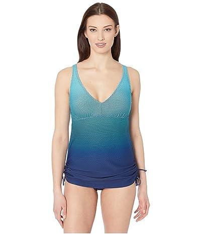 TYR Fishnet V-Neck Sheath (Turquoise) Women