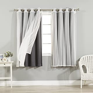 Best Home Fashion Mix & Match Tulle Sheer Lace & Blackout Curtain Set - Antique Bronze Grommet Top - Dark Grey - 52