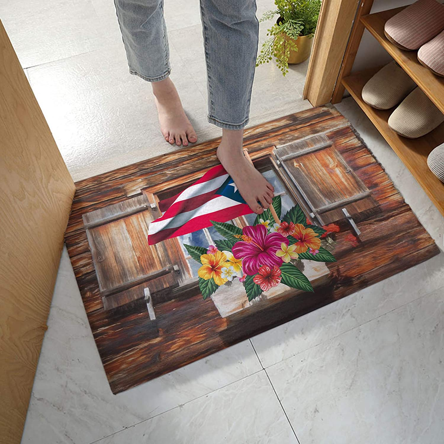 Max 89% OFF Fluffy Plush New York Mall Mat Absorbent Doormat Flag Puerto Rico for Entrance