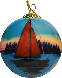Art Studio Company Hand Painted Glass Christmas Ornament - Sailboat Key West