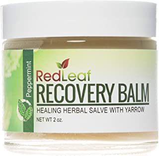Red Leaf Recovery Balm, 2 oz, All-Natural Herbal Healing Salve with Organic Yarrow, Scented with Peppermint Essential Oil
