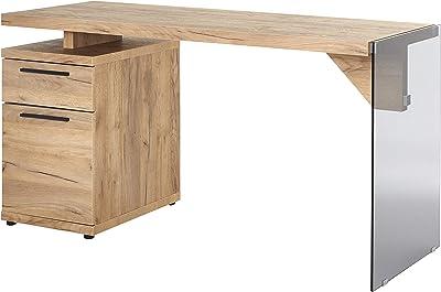Marque Amazon -Movian Salto - Bureau à 1 porte et 1 tiroir, 141,8x55x74cm, Finition chêne/verre gris