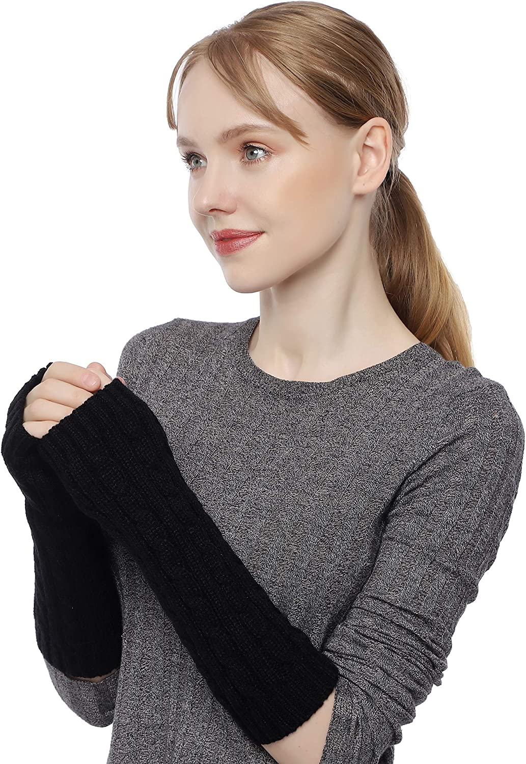 Flammi Women's Cable Knit Arm Warmers Fingerless Gloves Thumb Hole Gloves Mittens