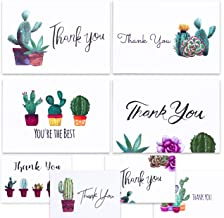 Nest Designs Cactus Thank You Cards for Succulent Thank You Notes! Bulk Set of 48 Blank Cards with Envelopes for Baby Shower Note Cards, Wedding Thank You Cards and Bridal Shower Thankyou Card