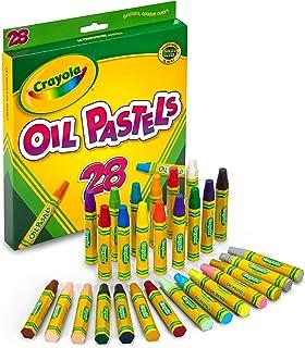 پاستلهای Crayola Oil، 28 رنگ اسپری درخشان، پاشنه های شکل شش ضلعی بزرگ، ایده آل برای بچه ها 3 و بالا، غیر سمی، مخلوط، قوی، چوب های طولانی مدت