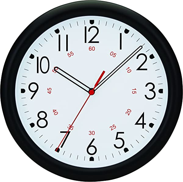 Tempus Wall Clock With Minute Minder Face And Quartz Movement 10 Black