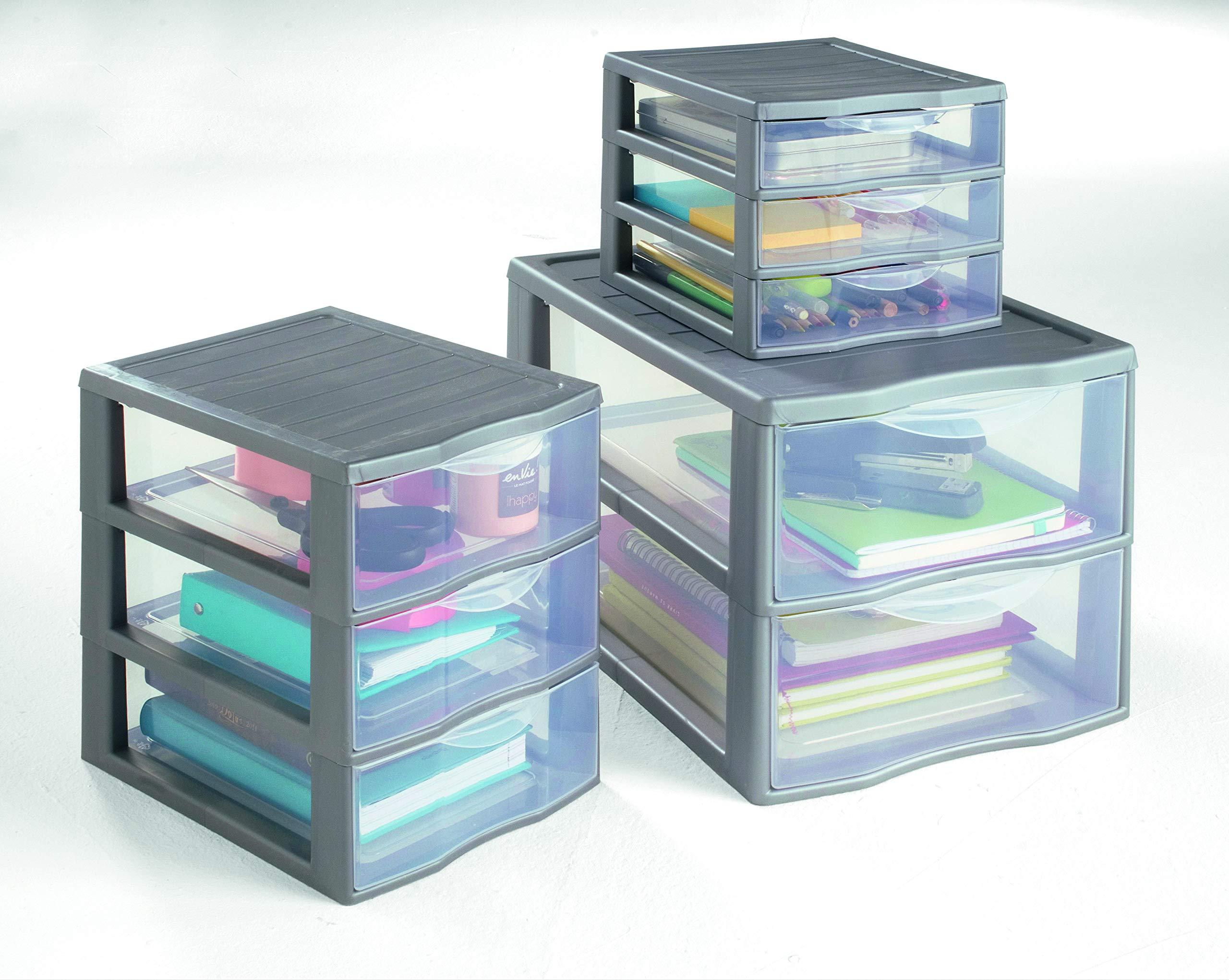 Sundis ORGAMIX A4 MM 3 tiroirs Noir Ordenación con 3 Cajón es, Transparente/Negro, 36.5x26x25.5 cm: Amazon.es: Hogar