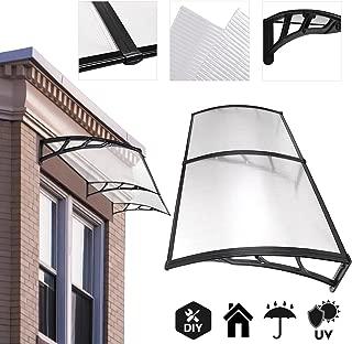 Koval Inc. 6.5 ft DIY Overhead Clear Outdoor Awning Patio Cover Door Window Polycarbonate Modern Design UV Rain Sunshine