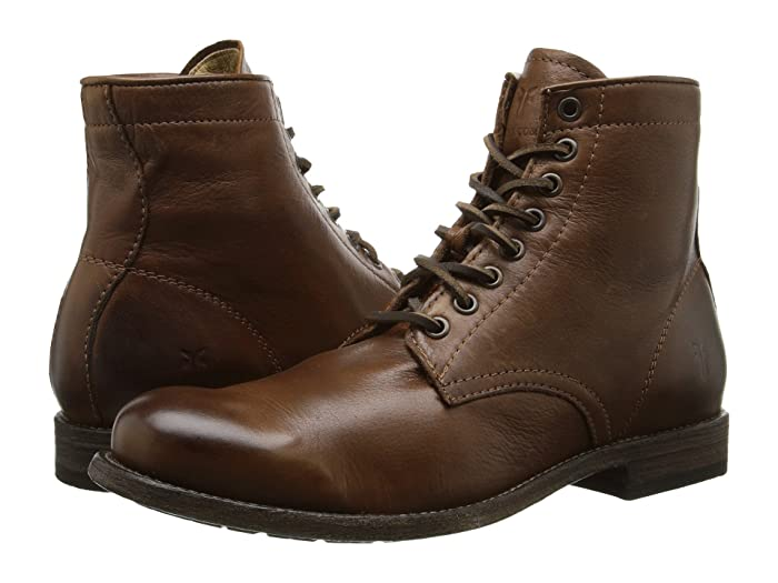 1920s Style Mens Shoes | Peaky Blinders Boots Frye Tyler Lace Up Cognac Soft Vintage Leather Mens Lace-up Boots $327.95 AT vintagedancer.com