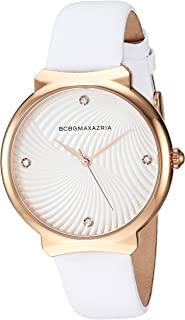 BCBGMAXAZRIA Women's Japanese-Quartz Stainless Steel Case Genuine Leather Strap Casual Watch