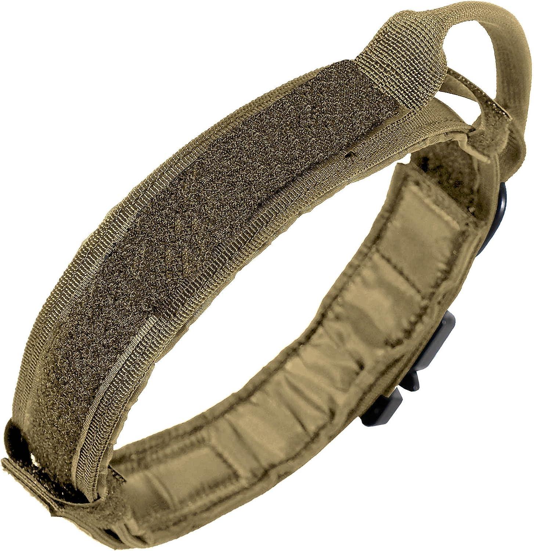 LIVABIT Heavy Duty 600D Nylon Tactical Dog Training Collar Handle XLarge Tan