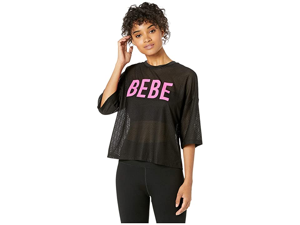 Bebe Sport Cropped Block Honeycomb Mesh Top (Black/Neon Pink) Women