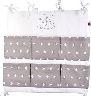 Babymajawelt® Bolsa de cuna para cuna STARS/Estrellas - con la aplicación bordado - Utensilio organizador cuna Talla: ...