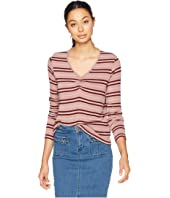 Long Sleeve V-Neck Top w/ Center Front Gathers