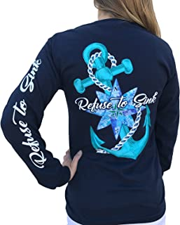 Refuse to Sink Anchor Navy Blue Long Sleeve T-Shirt
