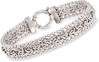 Ross-Simons Byzantine Beaded Bracelet in Sterling Silver For Women 7, 8 Inch 925