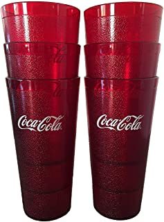 Coca-Cola Cups, Red Plastic Tumbler 32-Ounce Restaurant Grade, Carlisle, Set of 6