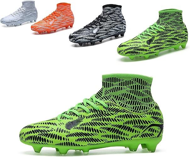 QLVY Chaussures pour Hommes Chaussures de Sport Football Spikes Fond Plat et Confortable Vert 41